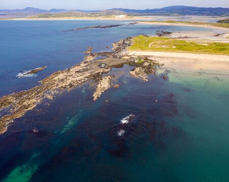Aerial view of Carrickfad at Narin Beach by Portnoo County Donegal, Ireland