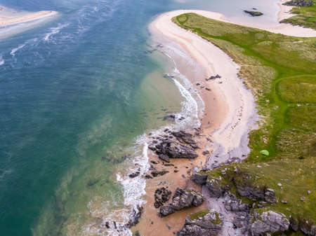 Aerial view of Doagh, north coast county Donegal, Ireland