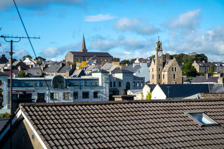 Ballyshannon / Ireland - August 22 2020 : The city seen from the East Rock Road