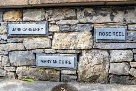 Ballyshannon / Ireland - August 22 2020 : Memorial reminding of orphan girls leaving to Australia Editorial