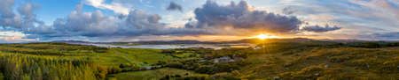 Aerial panorama of Ballyiriston and Maas in County Donegal - Ireland. Standard-Bild