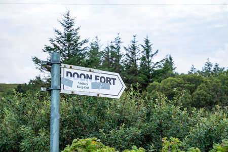 Portnoo, Ireland - August 12 2020 - Owners of Doon Fort asking folks to keep out during the pandemic