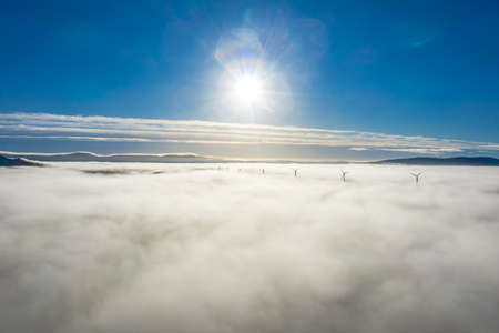 Above the clouds at Bonny Glen in County Donegal with fog - Ireland 版權商用圖片