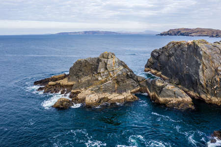 Aerial view of the coastline at Dawros in County Donegal - Ireland Standard-Bild