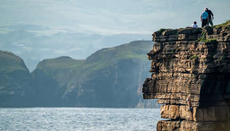 Muckross Head, Donegal - Ireland, popular for horizontally layered sandstone and thin layers of Stock fotó