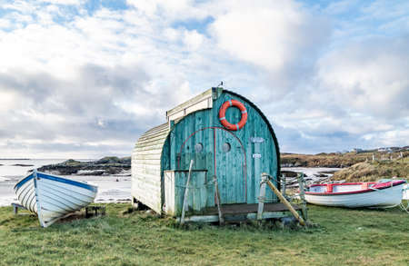 ROSSBEG, COUNTY DONEGAL, IRELAND : JANUARY 02 2021 : The Lobster Pod is a brillant innovation by native Patrick McLoone.