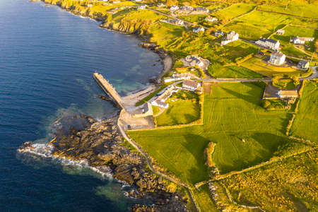 Aerial view of Portnoo harbour in County Donegal, Ireland