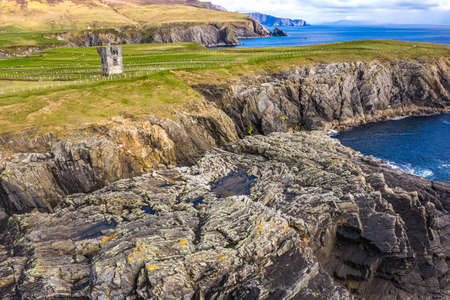 Aerial view of the Napoleonic Signal Tower in Malin Beg - County Donegal, Ireland
