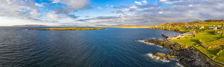 Aerial view of Portnoo harbour and Inishkeel Island in County Donegal, Ireland