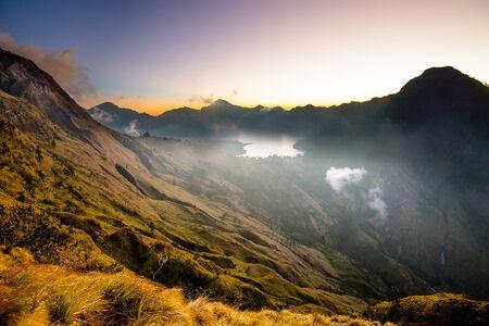 Sembalun creater rim of the Mount Rinjani or Gunung Rinjani. Lombok - Indonesia. Stock Photo
