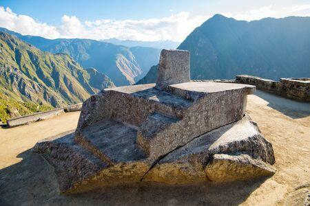 Intihuatana, sacred sun dial in Inca ruins Machu Picchu, Peru, South America.