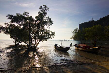 Boat on East Railay Bay Beach, Krabi Province, Thailand, Asia.