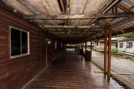 Longhouse In Sarawak, Malaysia Borneo Island Stock Photo