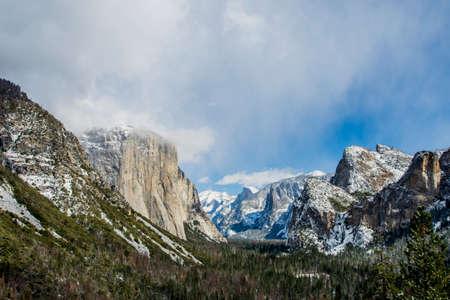 Yosemite Valley View in winter season, Yosemite National Park, California. Stock Photo