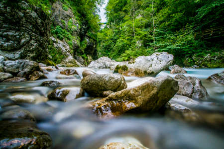 The green river Soca in the middle of the triglav national park, Slovenia