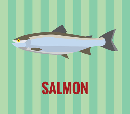 unsaturated fat: Salmon drawing on green background