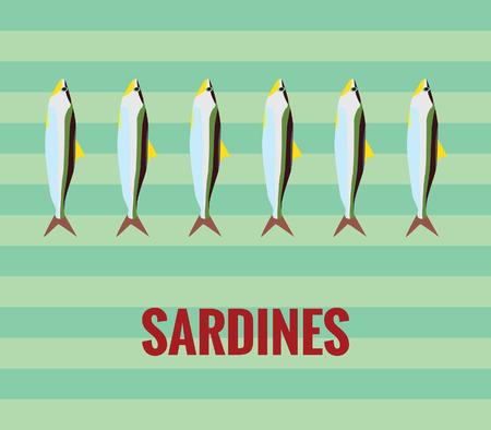sardinas: Sardinas de dibujo sobre fondo verde