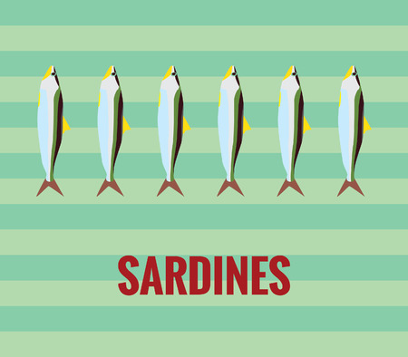 unsaturated fat: Sardines drawing on green background Illustration