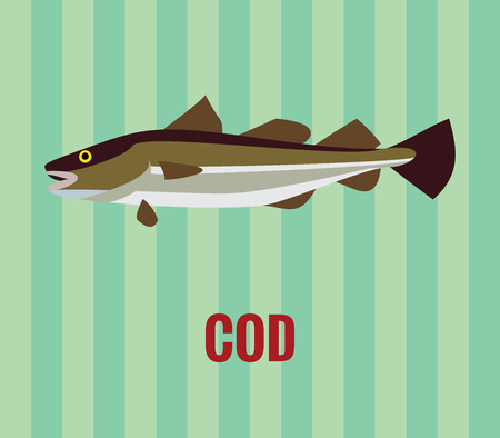 unsaturated fat: Cod drawing on green background