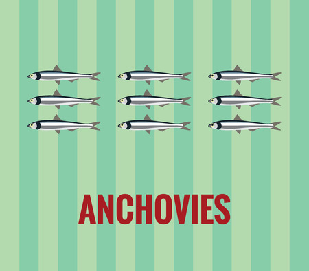 anchovy: Anchovies drawing on green background