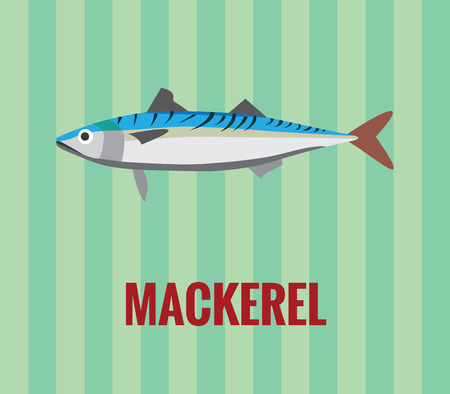 unsaturated: Mackerel drawing on green background Illustration