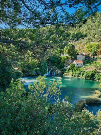 View of the waterfalls and cascades of Skradinski Buk on the Krka river. Krka National Park, Dalmatia, Croatia Standard-Bild