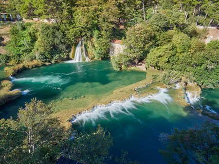 View of the waterfalls and cascades of Skradinski Buk on the Krka river. Krka National Park, Dalmatia, Croatia