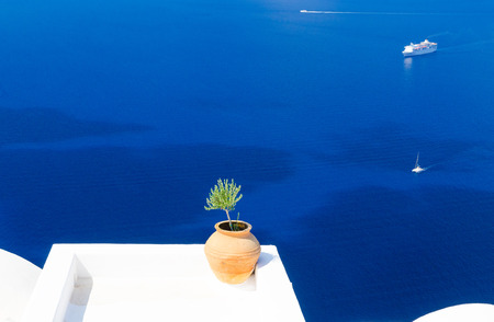 aegean: amazing view on Aegean Sea from Santorini island, Cyclades, Greece