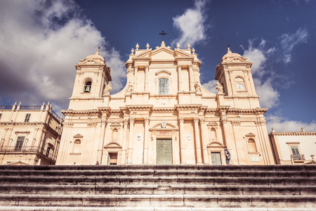 Noto, Sicily, Italy / December 2018: Basilica Minore di San Nicolò in Noto, Noto Cathedral is a Roman Catholic cathedral in Noto in Sicily, Italy. Its construction, in the style of the Sicilian Baroque, began in the early 18th century and was completed i
