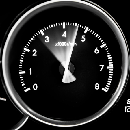 Car dashboard dials - engine RPM (rotations per minute) Stock Photo