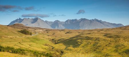 Scotland - Isle of Skye and Cuillin Hills - green heather hills