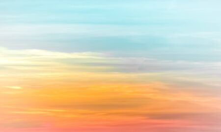 Sunset sky - colourful clouds and sky - blue, yellow, orange and red