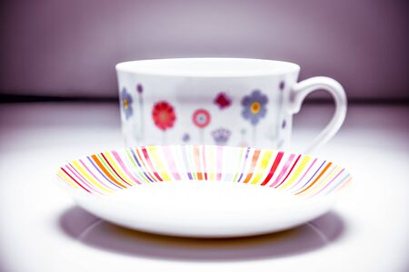 Vanishing coffee cup and saucer - colourful and stylish afternoon tea set