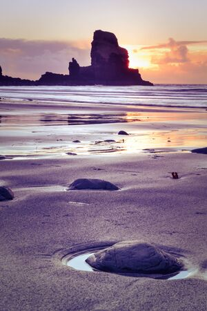 Sunset at Talisker bay on the Isle of Skye