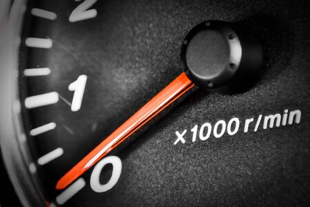 Close-up dashboard with speedometer and RPM Stockfoto