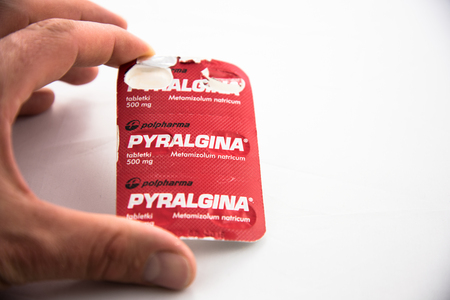 Alloa, Scotland - 14 August 2019: a blister of Pyralgina painkiller Editorial