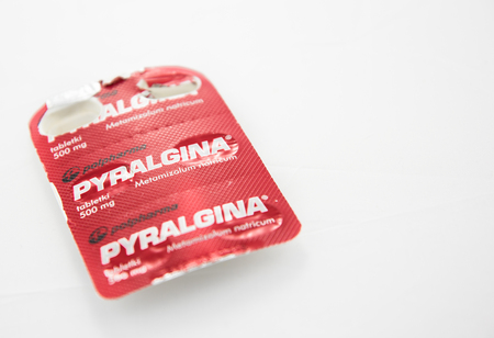 Alloa, Scotland - 14 August 2019: a blister of Pyralgina painkiller Redakční