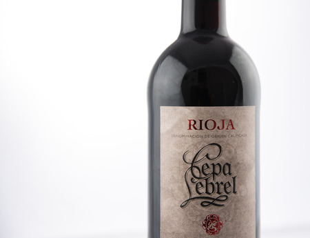 Alloa, Scotland - 13 August 2019: Red wine Rioja Cepa Lebrel
