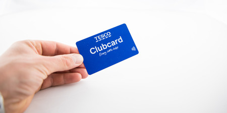 Alloa, Scotland - 15 August 2019: Tesco Clubcard isolated on white background Editorial