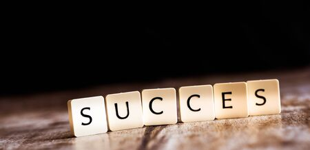 Succes word made of tiles on dark wooden background
