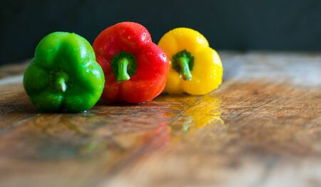 Healthy food - red, yellow and green peppers Banco de Imagens