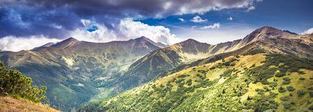 Panorama of Tatra Mountains under stormy clouds with some impressive peaks: Wolowiec, Lopata, Starobocianski Wierch, Czubik, Trzydniowianski Wierch