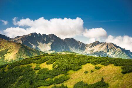 Salatin Mountain Range and Brestowa Peak in Slovakian Tatra Mountains - view from Rakon in Poland - trekking in autumn