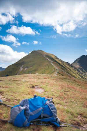 Blue Rucksack - trekking equipment, hillwalking gear, mountaineering Banco de Imagens