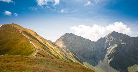 Path to Wolowiec and Rohac Ostry in the background - breathtaking peaks in Slovakian Tatra Mountains