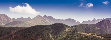 Tatra Mountains panorama - rocky summits of Carpathian Mountains Range Banco de Imagens