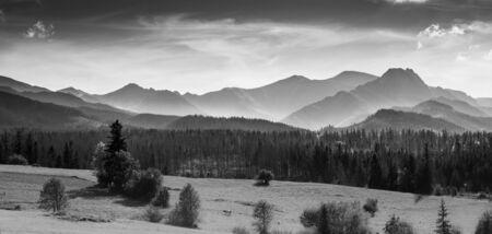 Panorama of Tatra Mountain Ridge in black and white Banco de Imagens
