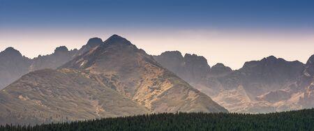 Panorama of Tatra Mountains - summits with names visible from Kopieniec Wielki near Zakopane