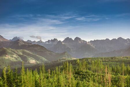 Tatra Mountains summits: Szeroka Jaworzynska, Gerlach, Konczysta, Ganek, Wysoka, Rysy, Zabi Kon, Wolowa Turnia, Mieguszowiecki Szczyt, Cubryna Banco de Imagens