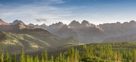 Tatra Mountains panorama in warm sunny summer day